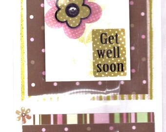 Get Well Card - Pink and Brown Stripe
