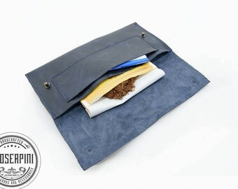 Navy Blue, Personalized, Tobacco leather case, Leather cigarette case, Tobacco bag, Tobacco case, Cigarette case, Leather case.;