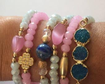 Bead Bracelet Set/Blue Druzy/Crystals/Gold Accent Pieces