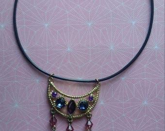 Pink Purple Indigo Gold Choker Necklace