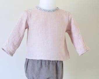 All linen blouse rosewater and glossy brown bloomers size 3 to 6 months