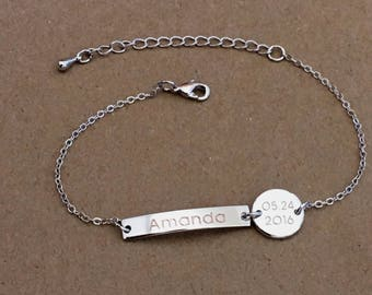 Silver Name Bracelet with Initial Disc, Custom Name Bracelet, Personalized Bar Bracelet, Initial Disc Bracelet, Bridesmaid Gift