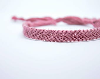 friendship bracelet|pink with adjustable straps| woven|chevron|handmade