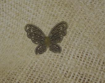 fine filigree metal connector bronze 3 butterflies 43mm