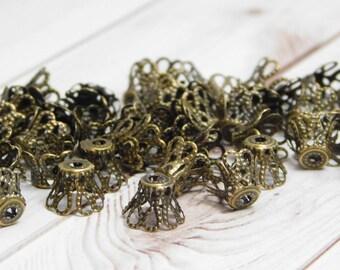 50 or 100pc - Filigree Bead Caps - Bronze Bead Caps - 8mm Bead Caps - Filigree Caps - Antique Bronze - Fits 8-9mm Beads - (B619)