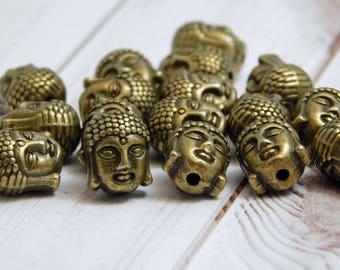 10 or 20 Beads - Buddha Beads - Buddha Head Bead - Bronze Buddha - Antique Bronze - Mala Beads - 10x8mm - (794)