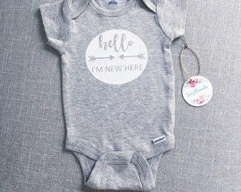 Hello I'm New Here Onesie® | Baby Onesie® | Baby Boy Onesie® | Baby Girl Onesie® | Infant Clothes | Custom Onesie® | Bodysuit | Baby Gift