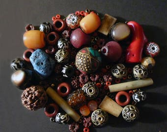 148 beads from Nepal in agate, Jasper, amber, coral, Horn, turquoise, seed and metal