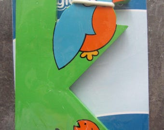 """Letter adhesiveen painted wood - representing the letter """"K"""" with a Kingfisher"""