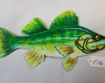 Large mouth Bass, Ornament, Stylized Bass, Hand painted Bass, Game fish ornament, Largemouth bass gift, Hand crafted largemouth bass gift