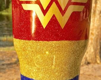 Wonder Woman Glitter Yeti Tumbler Mug, Wonder Woman Yeti, Wonder Woman Tumbler, Wonder Woman Travel Mug, Wonder Woman Cup, Wonder Woman Gift