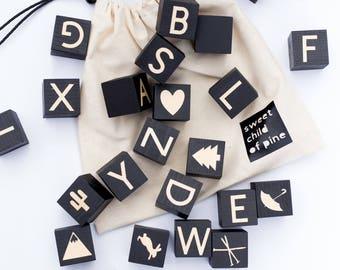 Alphabet Blocks,  learning toys,   play room,   nursery,   kids room,  wood toys