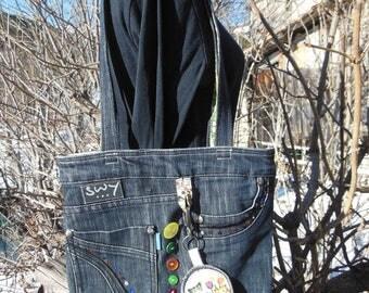 Denim shopping bag and key ring (SJ28)