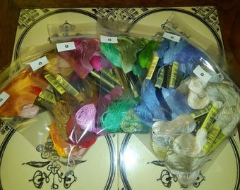 Bag of Different Shades of Embroidery Floss, Cross Stitching -8 Skeins