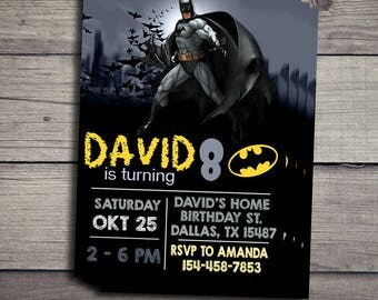 Batman Birthday Invitation, Batman Birthday Invitation, Batman Invitations, Batman Party Invitation, Batman Birthday