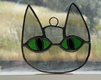 ON HOLD - Palouse Pride - Simple Kitty Face (Gray with Green Eyes)