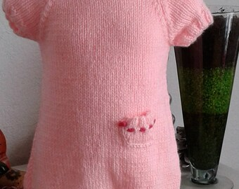 Around baby: short soft pink color wool sleeve dress size 1 month