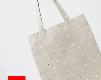 Floral Tote//Cotton Linen Tote bag//Daily Tote Bag//Eco Bag//Market Bag// Shopping Bag//Library Bag//Gift bag//Grocery bag//Tote//#1
