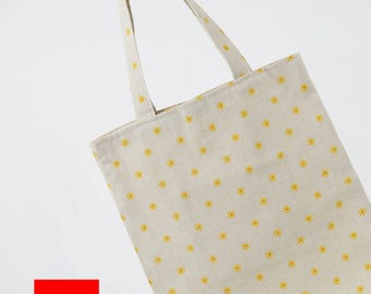 Floral Tote//Cotton Linen Tote bag//Daily Tote Bag//Eco Bag//Market Bag// Shopping Bag//Library Bag//Gift bag//Grocery bag//#2