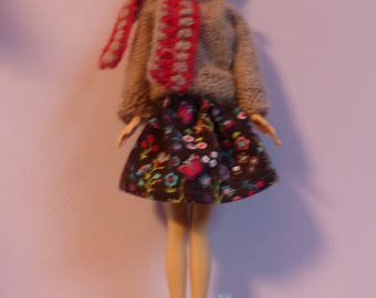 dolls clothes: dress for Barbie doll winter