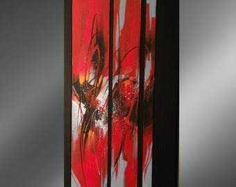 """abstract art acrylic painting """"Symphony in black and Red"""""""