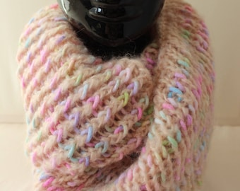 "Snood ""knitted"" salmon & pastels multicolors"