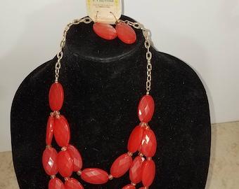 redorange crystal necklace earring set