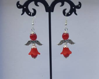 """Angels"" red earrings"