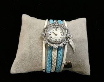 Wristwatch multi strand blue and white