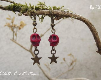 Stone earrings. Howlite skull
