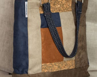 gorgeous handmade suede and Cork bag