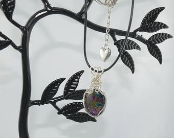 PENDANT CABOCHON DICHROIC light ametyst, jet with silver frame