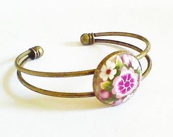 Bangle Bracelet double branch, pink flowers.