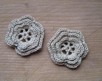 set of 2 6 triple petals beige crochet flowers