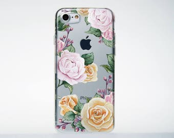 Rose iPhone Case Clear Floral Case iPhone 7 Plus Case Clear Case iPhone 6s Clear iPod Case iPhone 6 Plus Case Case Floral iPhone7 AMP003