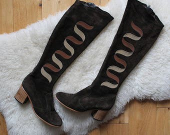 70s Knee High Brown Suede Boots Uk Size 3.5 Heeled