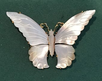 Vintage large Musi butterly brooch, shell in gold tone backing