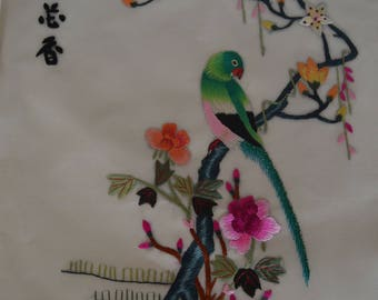 Embroided Silk with Bird and Flowers Wall Hanging