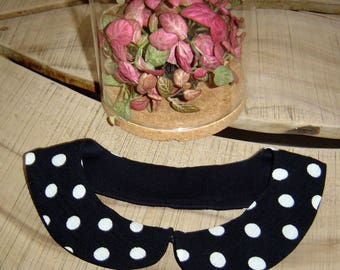 Peter Pan collar fabric black with big white polka dots