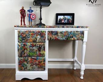 Marvel Superhero Desk // Upcycled Furniture // Kids Room // Teen's Room // Office // 4 Drawer Desk // Comic Books // Painted Furniture