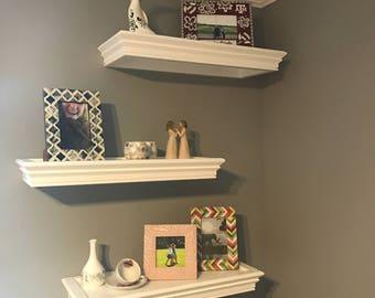 White Floating Wood Shelves, Display shelves, Custom shelves