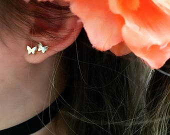 14K Gold Butterfly  Earrings /Handmade Gold Butterfly Earrings Available in 14k Gold, White Gold or Rose Gold