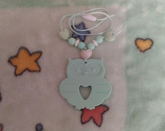 Teething necklace and Mint green silicone OWL ring