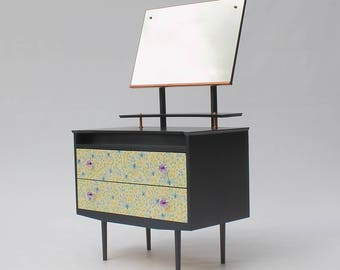 Upcycled Vintage Mirrored Chest of Drawers with Dragonfly paper
