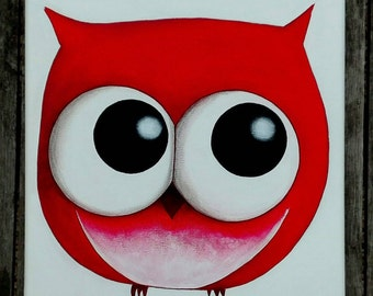 OWL, Red painting contemporary