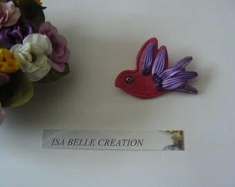 Pretty pink and purple bird brooch