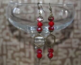 Red earrings, diamond charm