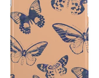 Blue Butterflies on Peach iPhone Tough Case // iPhone 7, 7 Plus, 6, 6S, 6 Plus, 6S Plus, SE, 5, 5C, 5S, 4, 4S