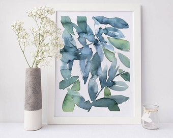 Printable abstract art, watercolour wall art, leaves print, green watercolor print, watercolor art, abstract art, abstract watercolor art
