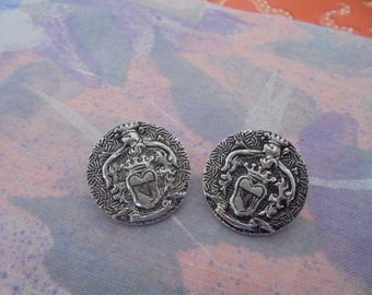 Set of 2 Vintage silver 21 mm buttons